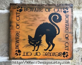 Beware of Cat, Black Cat Sign, Magical Home Decor Sign, Witch Home Decor Sign, Witch's Cat, Witch's Familiar, Cat Decor, Ready to Ship!