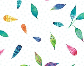 SALE!  Feather and Leaf Cotton Fabric Tossed Print Brights Rainbow Woodland by Red Rooster 100% Cotton By The Yard Nature White Fabric