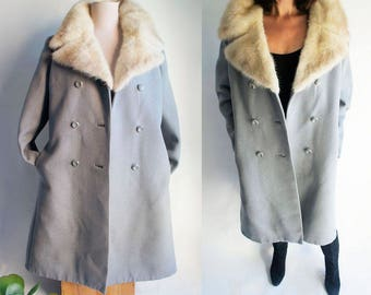 60S VINTAGE COAT mink Collar - XL Mad Men style Vintage Mink collar Coat.