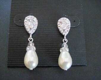 Swarovski Crystal Pink Pearl Drop Earrings/Pearl Earrings/ Bridesmaid Jewelry/ Pearl Earrings/ Pearl Bridesmaid Jewelry/White Pearl