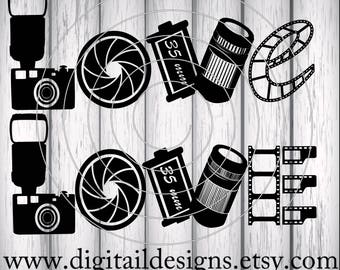 Love Photography SVG - png - dxf - eps - fcm - ai - Cut File for Silhouette, Cricut - Camera Love SVG - Photographer SVG