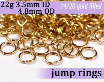 22g 3.5mm ID 4.8mm OD gold filled jump rings -- 22g3.50 goldfill jumprings 14k goldfilled