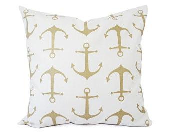 Two Metallic Throw Pillow Covers - Nautical Pillows - Metallic Pillow Cushion Cover - Anchor Pillows - Accent Pillow - Gold Pillow Cover