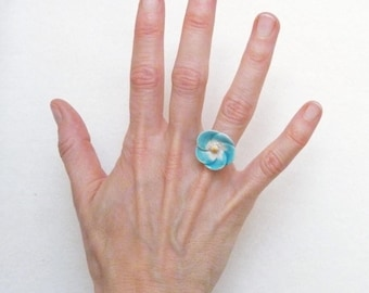 Flower Ring,  Turquoise Ring, Ceramic Ring, Cabochon Ring, Artisan Ring, Handmade Ring, Adjustable Ring, Women Ring, Floral Ring