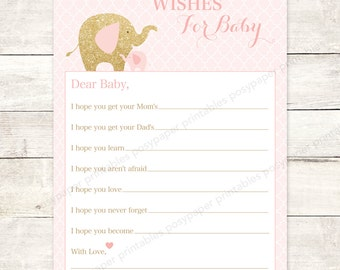 wishes for baby shower printable elephants pink gold glitter DIY baby girl shower games - INSTANT DOWNLOAD