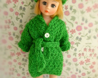 HANDKNITTED DOLL COAT and hat - stunning in grass green, to fit most slender 9-10in/20-23cm dolls like Jill, Patch, Pepper, Portrette, Toni