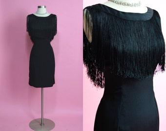 "1950's Vintage Black Rayon Fringe Dress Cocktail Dress Little Black Dress VLV Bombshell Mad Men Tassel Dress 29"" Waist Medium"