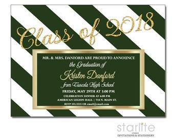 Green and Gold Graduation Announcement Cards, Graduation Announcement Invitation in Green and Gold, Printable Graduation Announcement Card