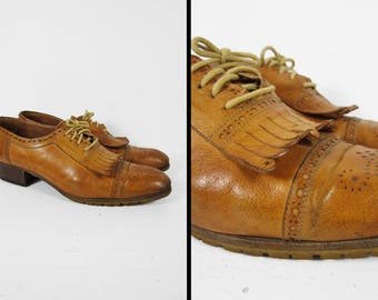 Vintage Kiltie Fringe Brogues Cap Toe Dress Shoes Blonde Leather Made in Italy - Size 12