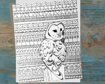 Aztec Adult Coloring Page Printable Digital Owl; Tribal background; zentangle