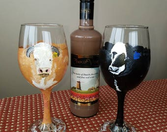 LONG LEGS - Animal Handpainted original design 20 oz wine and 1.4 oz shot glasses.