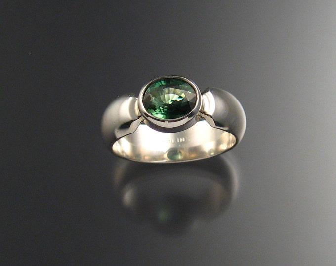 Green Tourmaline ring Sterling silver Wide Low dome band made to order in your size