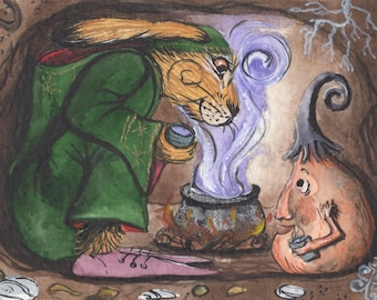 A Crumlush Griffversation - Matlock the Hare - Whimsical magical signed archival art print.