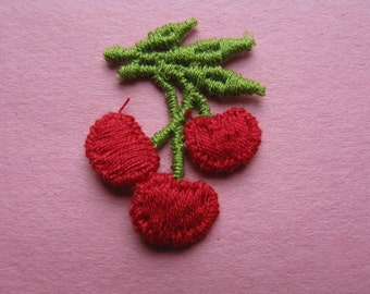 vintage cherry patch 70s embroidered cherries lingerie trim baby appliqué new old stock