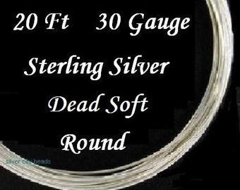 30 g ga gauge Sterling Silver Round Wire Dead Soft, 20 feet