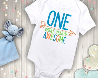 One Whole Year of Awesome Shirt or Bodysuit - First Birthday Shirt - Blue, Green, Orange Design.