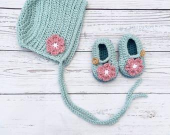 baby bonnet and shoes set | crochet baby bonnet | baby outfit set | crochet baby shoes | new baby gift | baby photo prop