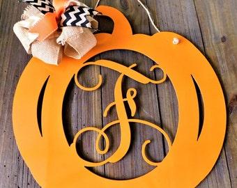 Pumpkin Door Hanger, Fall Pumpkin Wreath, Monogram Pumpkin Door Hanger, Metal Pumpkin Door Hanger, Pumpkin Decor, Pumpkin Fall Door Hanger