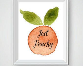 Peach Kitchen Decor, Kitchen Art, Watercolor Art, Peach Art, Kitchen Art, Kitchen Wall Decor, Wall Art Decor, Kitchen Wall Art