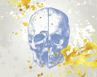 Blue Fashion Skull with Gold Splatter Print