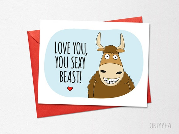 Funny anniversary card printable card love you you sexy funny anniversary card printable card love you you sexy beast funny love card funny valentines printable boyfriend card husband card m4hsunfo Images