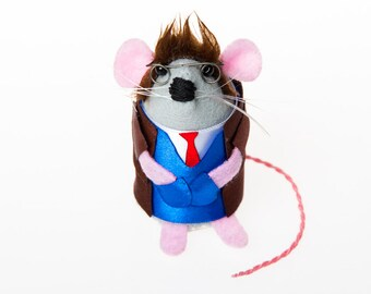 Doctor Who Mouse - David Tennant Dr Who collectable art rat artists mice felt mouse cute soft sculpture toy stuffed plush doll ornament gift