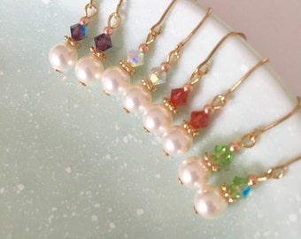 Set of four dainty pearl drop earrings for brides and bridesmaids
