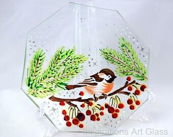 Glass plate Hand painted plate Decorative bird plate Bird motif Sparrow plate Xmas gift Bird lover gift Christmas decoration Robin bird