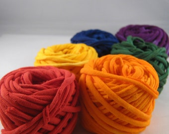 T Shirt Yarn Sampler Pack- Red/Sunshine/Clementine/Violet/Blue/Kelly 60 yards total