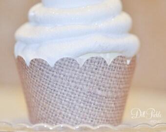 Burlap Print Cupcake Wrappers - Set of 24 - Rustic - Mini or Standard Size