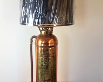 """Antique Fire Extinguisher Lamp Copper W.D. Allen Mfg Co. 36"""" Tall With Shade"""