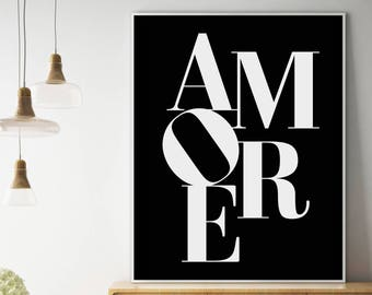 Amore Print, Black and White, Italian Wall Decor, Amore Poster, Amore Printable, Typography Art, Amore Wall Art, Amore Design