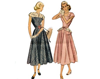 7e3b933a50 1940 s Day Dress Pattern Detachable Peplum Belt Flared Skirt Square Neck  Cap Sleeve Simplicity 2357 Bust 30 Vintage Sewing Pattern