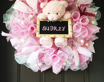 Extravagant Personalized Baby Girl Wreath, Hospital Door Wreath, Welcome Home Baby, It's a Girl Wreath, Luxurious Baby Gift, New Mom To Be