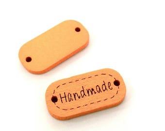 ♥ X 24mm HANDMADE wood button 1 ORANGE ♥