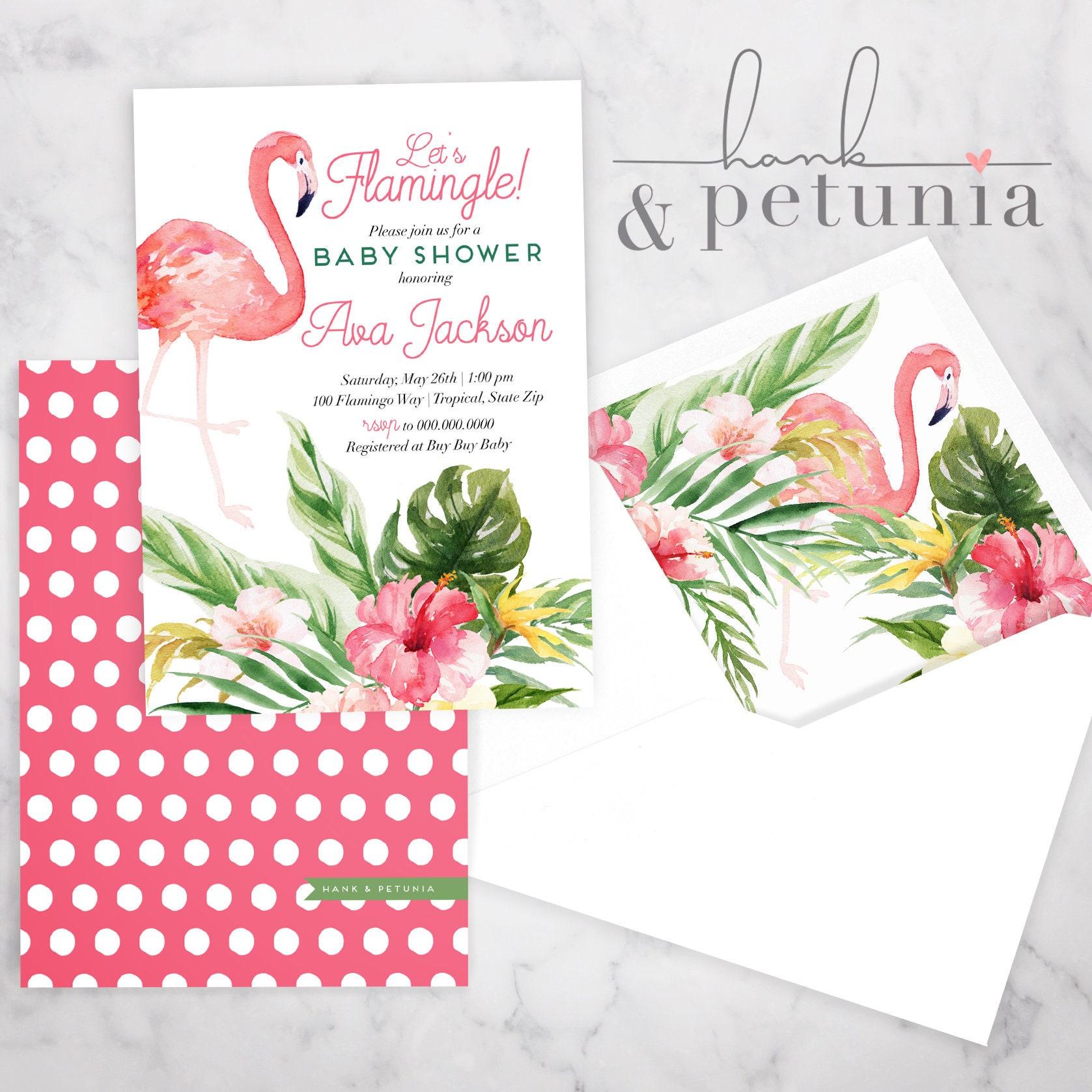 Tropical Flamingo Baby Shower Invitation, Baby Girl Shower, Baby ...