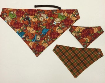 Scarecrow Festival, reversible pet bandana, sizes XS-XL, dog bandana, fall pet bandanas, dog scarf, pet wear