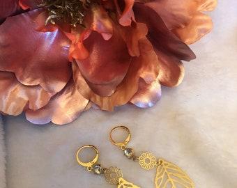 Leaf Earrings, Gold Leaf Earrings, Leaf Dainty Earrings, Long Gold Earrings
