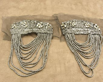 PRETTY antique silver beaded epaulette