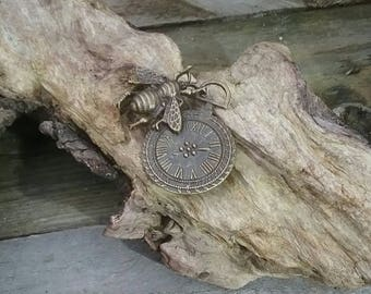 bronze steampunk bee with clock charm pendant
