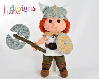 Crochet Pattern - Tommy With Viking Costume (Amigurumi Doll Pattern)