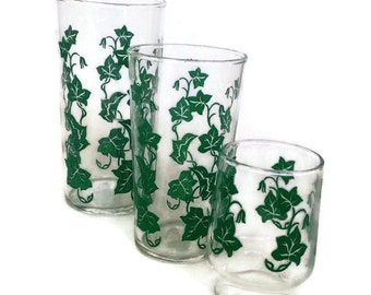 Vintage Federal Glass Drinking Glasses Southern Ivy 3 Sizes 1940's Green Ivy Decals