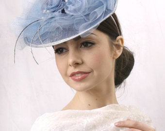 Kentucky blue fascinator, Royal Ascot Hat, Kentucky derby hat, Derby fascinator hat, tea headpiece, couture hat, Occasion headpiece