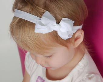 White Bow Headband, White Headband, White Baby Headband, Bow Headband, Baby Headband, Newborn Headband ,Baby Girl Headband, Infant Headband