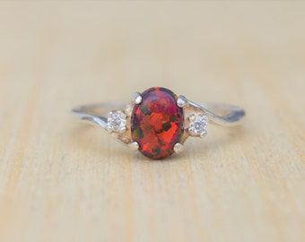 Fire Opal Ring, Red Opal Ring, Black Cherry Opal, Opal Ring, Silver Opal Ring, Lab Opal Ring, Birthstone Ring, Promise Ring