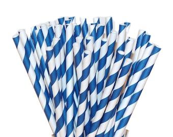 Paper Straws, 20 Blue Striped Paper Drinking Straw, Party Straws, July 4Th, Wedding Straws, Retro Paper Straws,  Drinking Straw, Made In USA