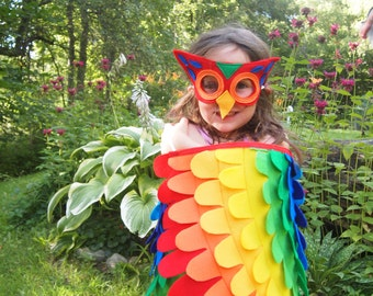 Rainbow OWL costume, Wings and Mask // Soft flappable wings, made in the US of all US produced materials!