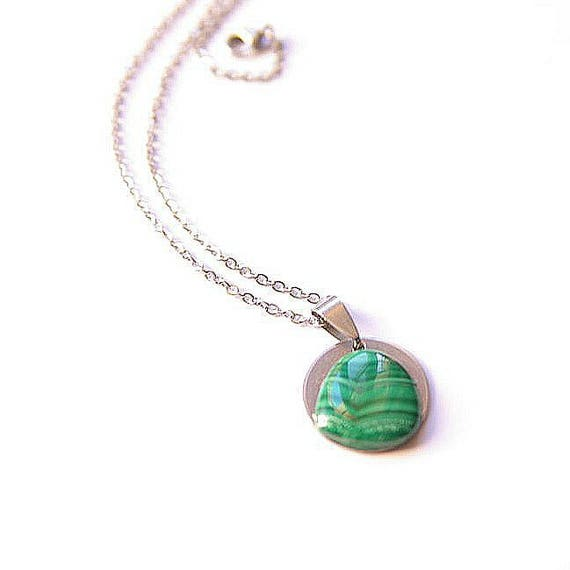 Malachite Pendant, Malachite Necklace, Malachite Cabochon, 925 Sterling Silver Chain, Malachite Gemstone, Malachite Jewelry, Crystal healing