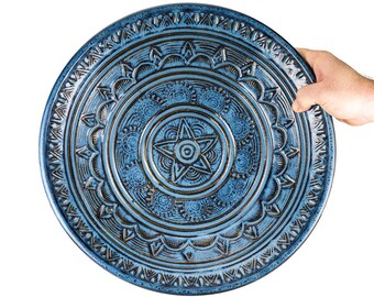 Large one of a kind hand carved pottery bowl. Intricate free-hand carving on a wheel thrown pottery bowl.