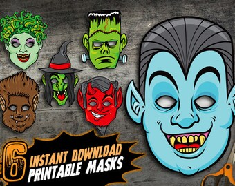 PRINTABLE Monster Halloween Masks, 6 kids DIY paper halloween masks, vampire frankenstein medusa wolfman devil witch, instant download pdf
